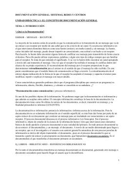 DOCUMENTACIÓN GENERAL: SISTEMAS, REDES Y CENTROS