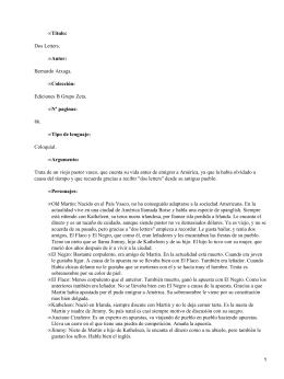 Dos Letters; Bernardo Atxaga