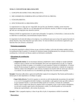 TEMA 5: CONCEPTO DE ORGANIZACIÓN 1.− CONCEPTO DE ESTRUCTURA ORGANIZATIVA. 3.− FUNCIONAMIENTO.