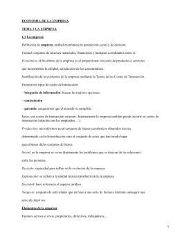 ECONOMIA DE LA EMPRESA TEMA 1 LA EMPRESA 1.1 La empresa empresa
