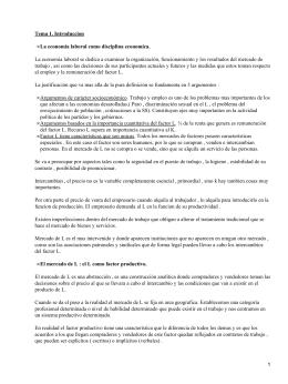 Tema 1. Introduccion La economia laboral como disciplina economica. •