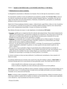 MARCO CIENTÍFICO DE LA ECONOMÍA ESPAÑOLA Y MUNDIAL.