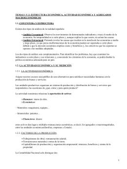 TEMAS 1 Y 2: ESTRUCTURA ECONÓMICA, ACTIVIDAD ECONÓMICA Y AGREGADOS MACROECONÓMICOS