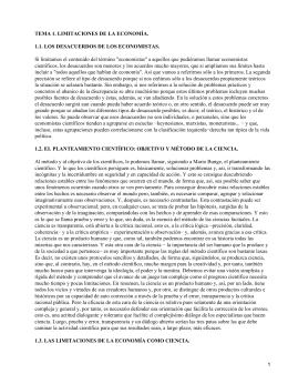 TEMA 1. LIMITACIONES DE LA ECONOMÍA.
