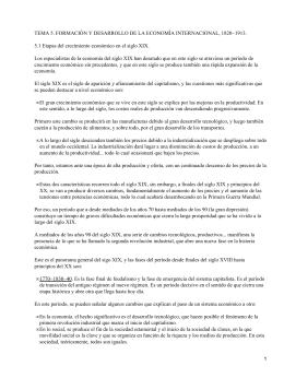 TEMA 5. FORMACIÓN Y DESARROLLO DE LA ECONOMÍA INTERNACIONAL, 1820−1913.