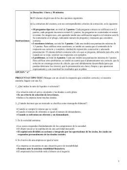 a) Duración: 1 hora y 30 minutos b) c) 10 preguntas tipo test