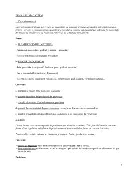 TEMA 6. EL MAGATZEM 1. L'aprovisionament