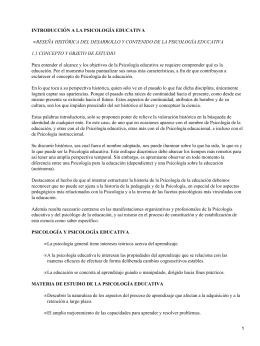 INTRODUCCIÓN A LA PSICOLOGÍA EDUCATIVA 1.1 CONCEPTO Y OBJETO DE ESTUDIO •