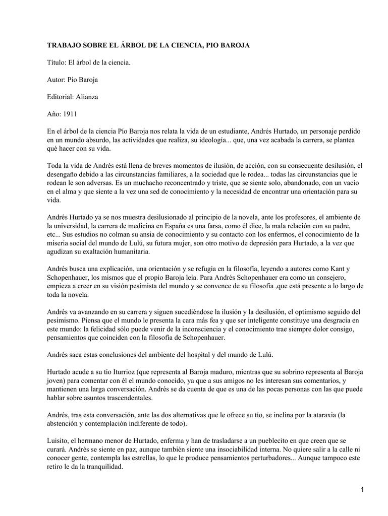 TRABAJO SOBRE EL ÁRBOL DE LA CIENCIA, PIO BAROJA Editorial