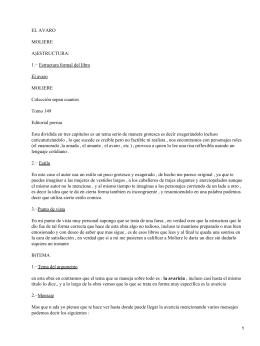 EL AVARO MOLIERE A)ESTRUCTURA: 1.− Estructura formal del libro