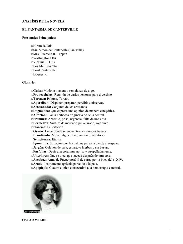 Analísis De La Novela El Fantasma De Canterville Personajes