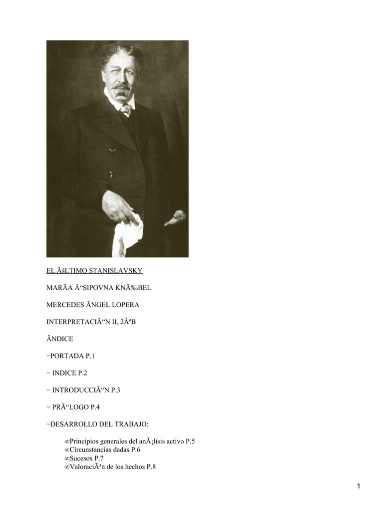 El último Stanislavsky Maria ósipovna Knébel
