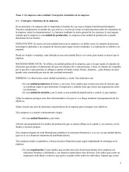 Tema 1: La empresa como realidad. Concepción sistemática de la... 1.1.− Concepto y funciones de la empresa: caja negra