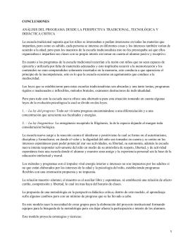 CONCLUSIONES ANÁLISIS DEL PROGRAMA DESDE LA PERSPECTIVA TRADICIONAL, TECNOLÓGICA Y DIDÁCTICA CRITICA