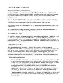 PARTE 1. LAS FUERZA CENTRÍPETAS TEMA 1. COMERCIO INTERNACIONAL