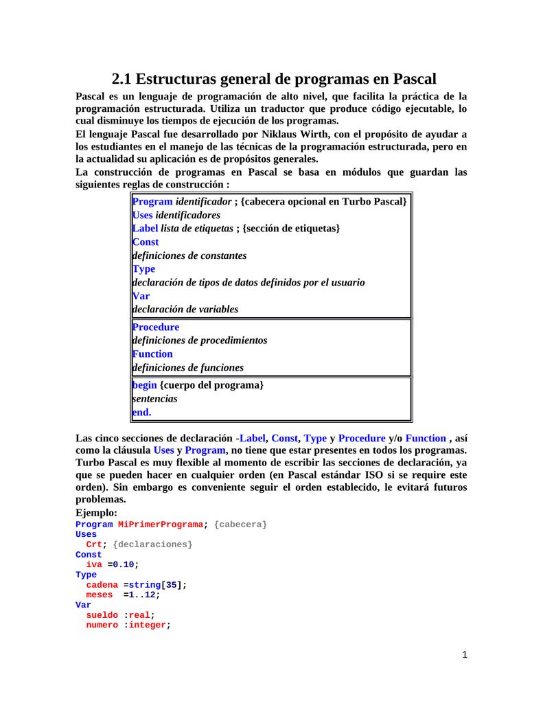 Estructura General De Programas En Pascal