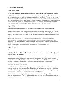 CUESTIONARIO DE ÉTICA Página 52. Ejercicio 4: