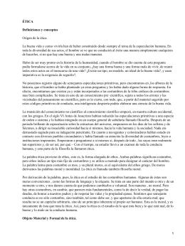ÉTICA Definiciones y conceptos Origen de la ética.