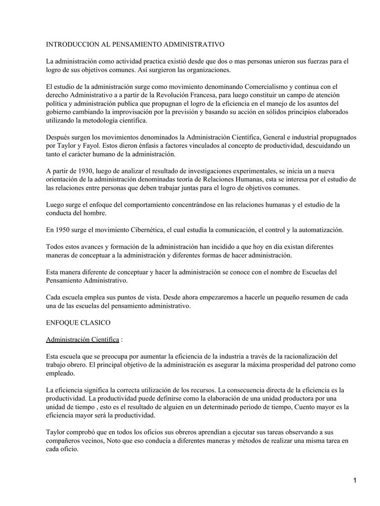 INTRODUCCION AL PENSAMIENTO ADMINISTRATIVO