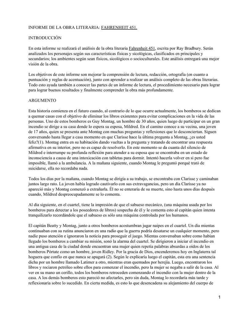 Informe De La Obra Literaria Fahrenheit 451 Introduccion