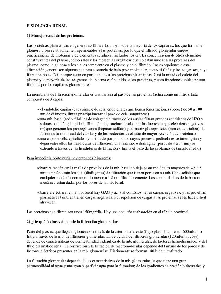 FISIOLOGIA RENAL 1) Manejo renal de las proteínas