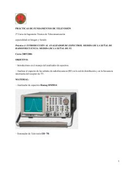 PRÁCTICAS DE FUNDAMENTOS DE TELEVISIÓN especialidad en Imagen y Sonido