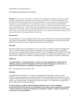 Generalidades de la Nanotecnología