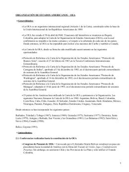 Generalidades sobre la OEA (Organización de Estados Americanos)