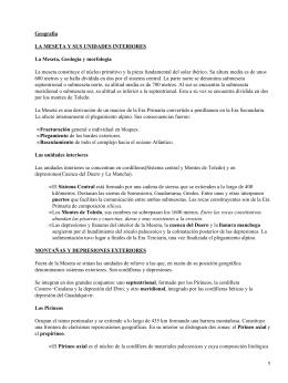 Geografía LA MESETA Y SUS UNIDADES INTERIORES La Meseta, Geología y morfología