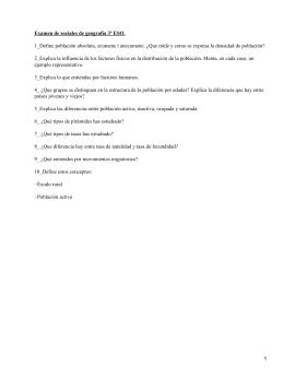 Examen de sociales de geografía 3º ESO.