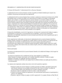 DESARROLLO Y ADMINISTRACIÓN DE RECURSOS HUMANOS