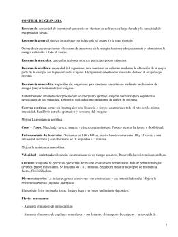 CONTROL DE GIMNASIA Resistencia Resistencia general recuperación rápida.