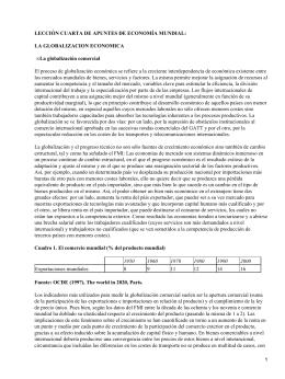 LECCIÓN CUARTA DE APUNTES DE ECONOMÍA MUNDIAL: LA GLOBALIZACION ECONOMICA •