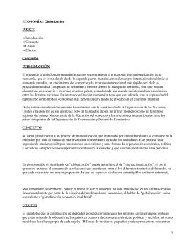 ECONOMÍA : Globalización ÍNDICE Conclusión INTRODUCCIÓN