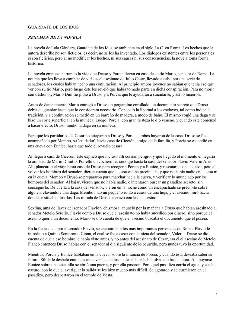 GUÁRDATE DE LOS IDUS RESUMEN DE LA NOVELA