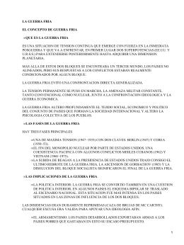 LA GUERRA FRIA EL CONCEPTO DE GUERRA FRIA •