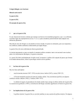 Colegio bilingüe: new horizons Historia universal ii La guerra fría La guerra fria