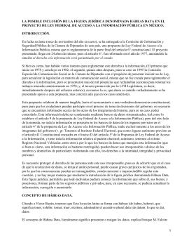 LA POSIBLE INCLUSIÓN DE LA FIGURA JURÍDICA DENOMINADA HÁBEAS DATA... PROYECTO DE LEY FEDERAL DE ACCESO A LA INFORMACIÓN PÚBLICA...