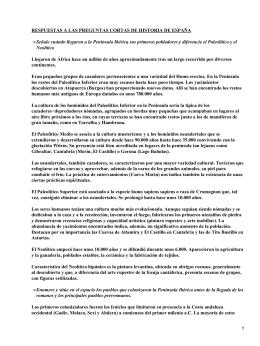 RESPUESTAS A LAS PREGUNTAS CORTAS DE HISTORIA DE ESPAÑA •