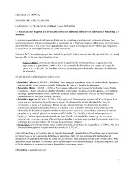 HISTORIA DE ESPAÑA SEGUNDO DE BACHILLERATO CATÁLOGO DE PREGUNTAS CORTAS (Curso 2005/2006)