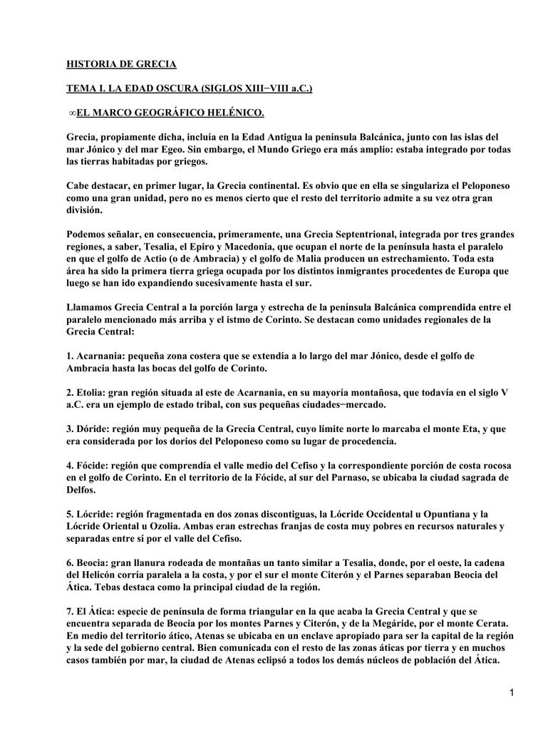 HISTORIA DE GRECIA TEMA I. LA EDAD OSCURA (SIGLOS XIII−VIII a.C.)