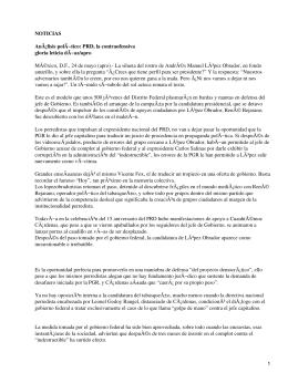 NOTICIAS Análisis polÃ−tico: PRD, la contraofensiva gloria leticia dÃ−az/apro