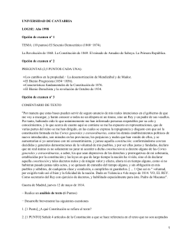 UNIVERSIDAD DE CANTABRIA LOGSE: Año 1998 Opción de examen nº 1