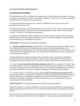 LAS INSTITUCIONES COMUNITARIAS. EL PARLAMENTO EUROPEO