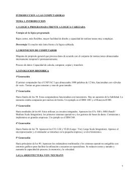 INTRODUCCION A LAS COMPUTADORAS TEMA 1. INTRODUCCION 1.2 DEFINICION DE COMPUTADOR