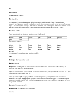 Introducción al lenguaje C. Biblioteca de funciones Turbo C