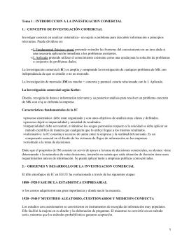 Tema 1 : INTRODUCCION A LA INVESTIGACION COMERCIAL