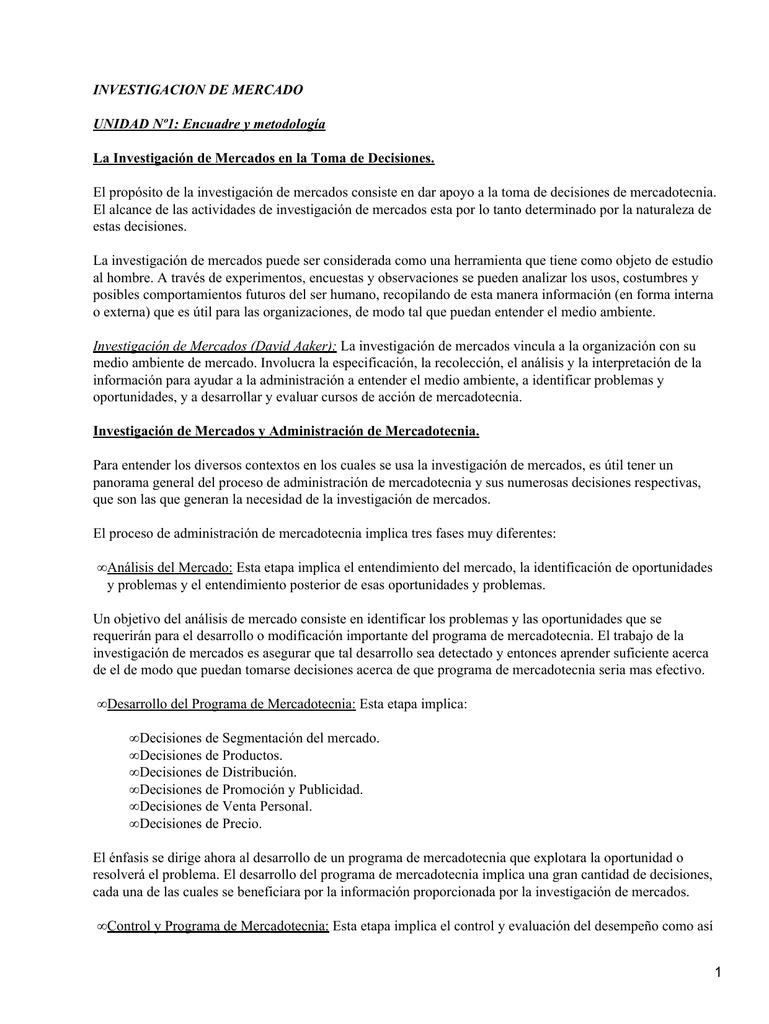 INVESTIGACION DE MERCADO UNIDAD Nº1: Encuadre y metodología