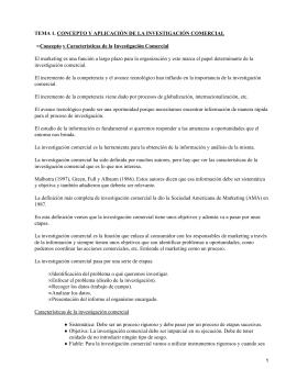 TEMA 1. CONCEPTO Y APLICACIÓN DE LA INVESTIGACIÓN COMERCIAL •