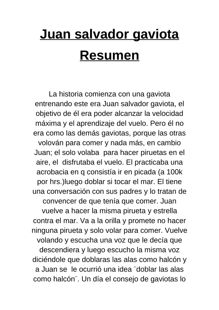 Juan salvador gaviota Resumen